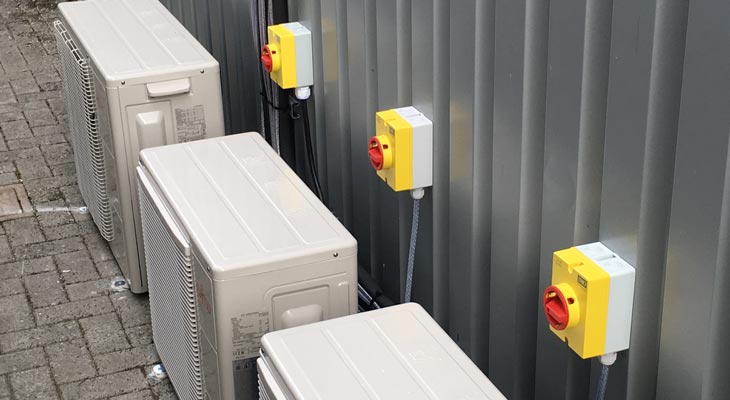 Power supplied to industrial air conditioning units