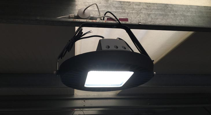 High bay LED lighting close-up