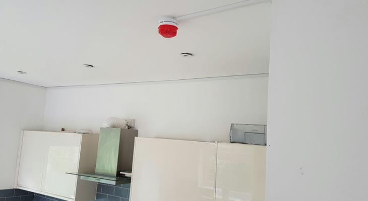 Fire alarm installed in kitchen